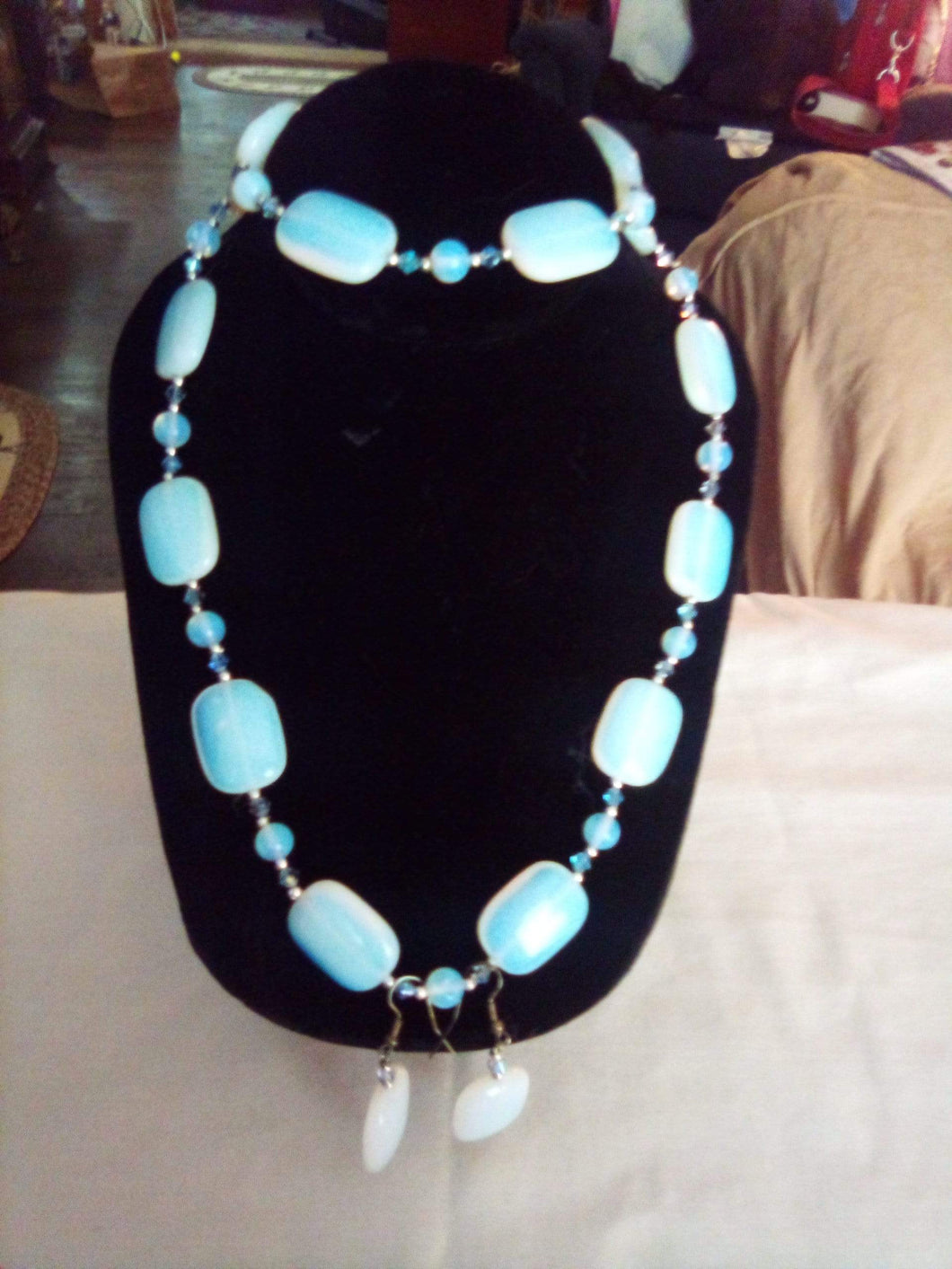 A rare opalite necklace, bracelet, and pierced earring set - B&P'sringsnthings