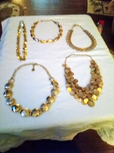 A gold tone vintage necklace lot - B&P'sringsnthings