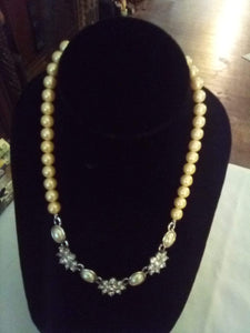 Beautiful pearl like necklace with cubic Zirconia stones - B&P'sringsnthings