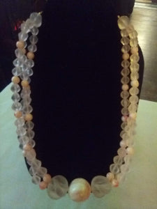 Beautiful vintage frosted light pink necklace - B&P'sringsnthings