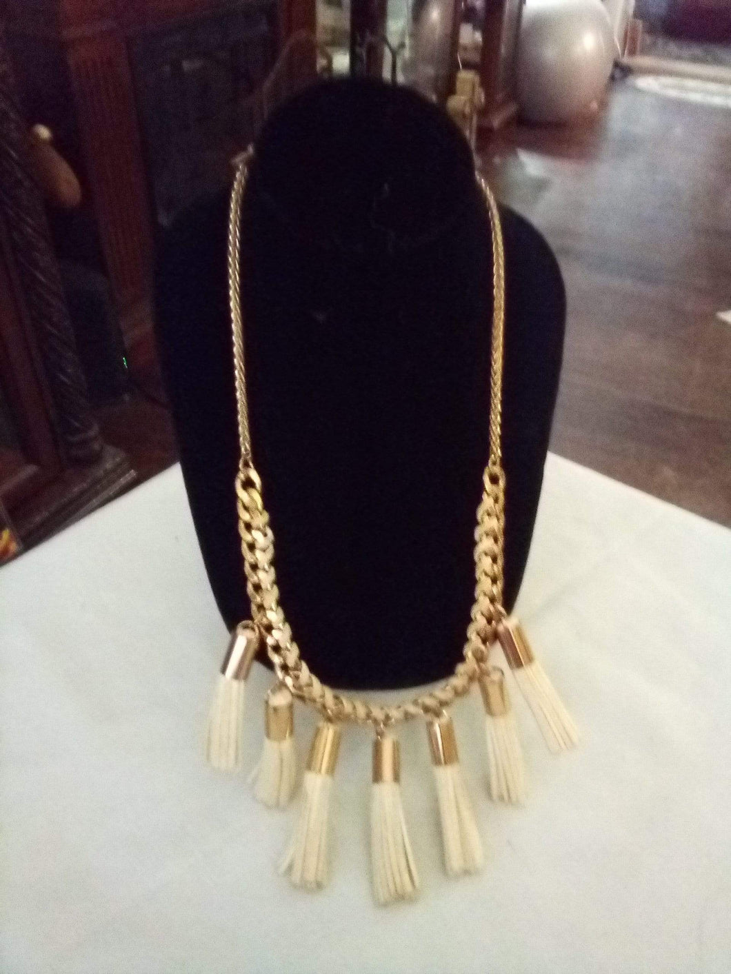 Unique necklace with hanging tassels - B&P'sringsnthings