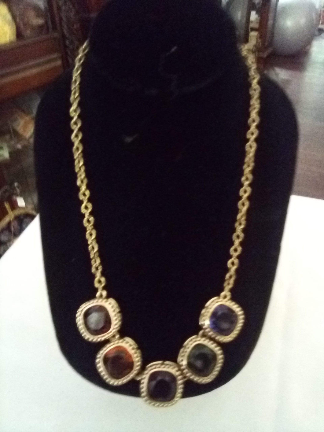Vintage dressy necklace with colorful attached stones - B&P'sringsnthings
