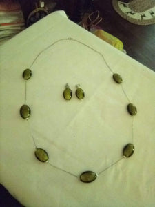 Vintage long necklace and earrings set - B&P'sringsnthings