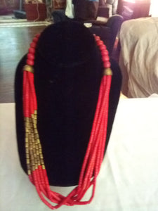 Vintage red beaded necklace - B&P'sringsnthings
