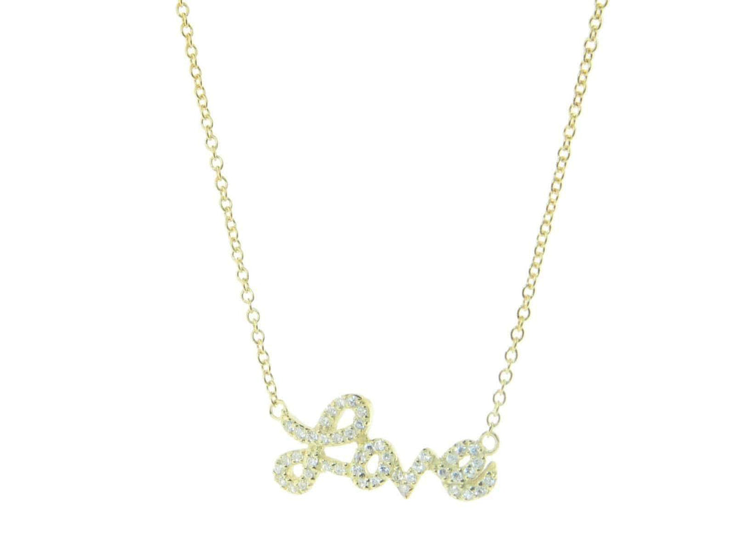 Golden Sparkling Cursive Love Necklace - B&P'sringsnthings