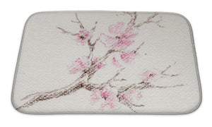 Bath Mat, Watercolor Branch Of Cherry Blossoms - B&P'sringsnthings
