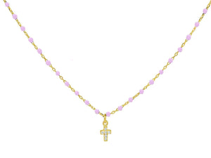 Miniature Pink Enamel CZ Cross Necklace - B&P'sringsnthings