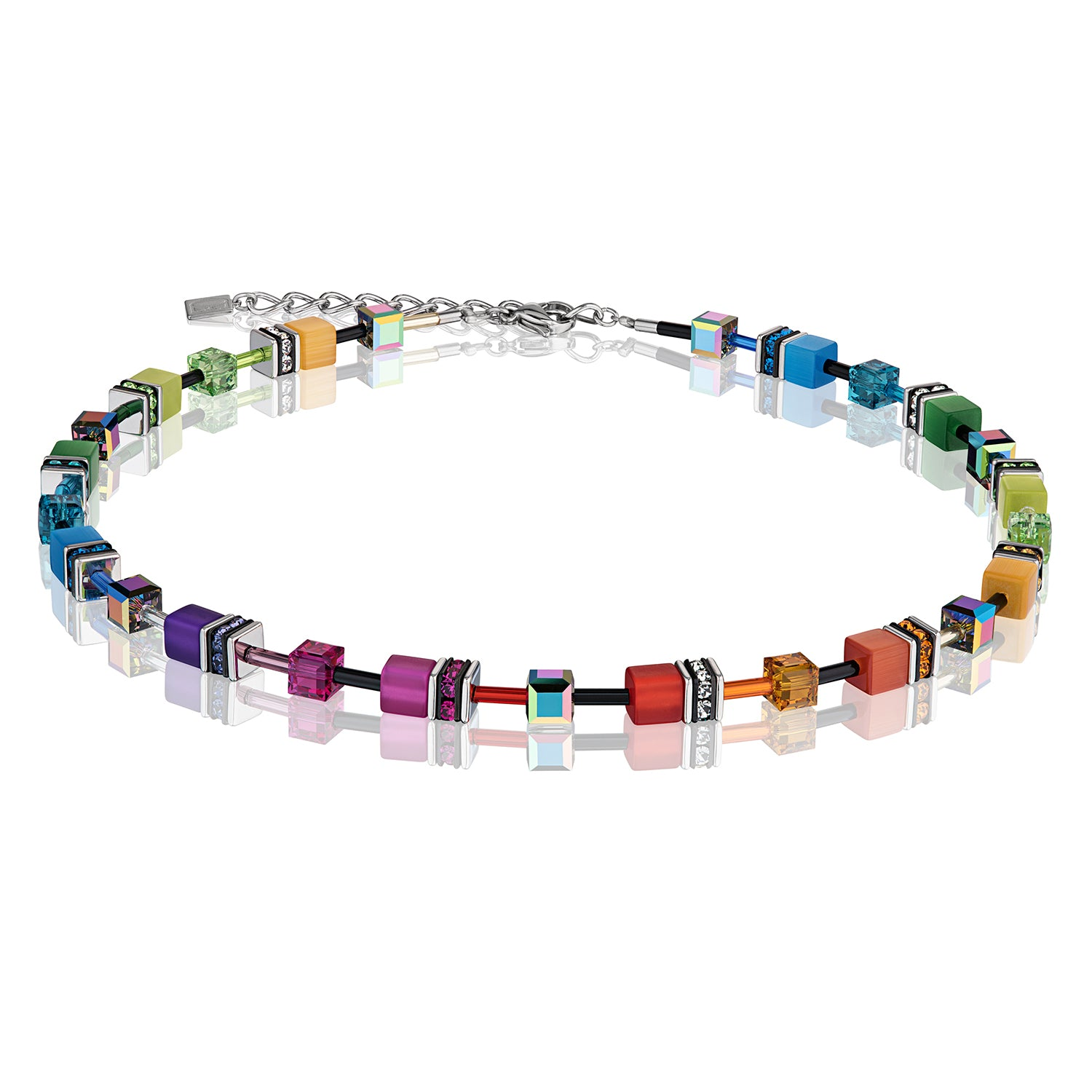 Coeur de Lion Necklace, Multicolour Rainbow