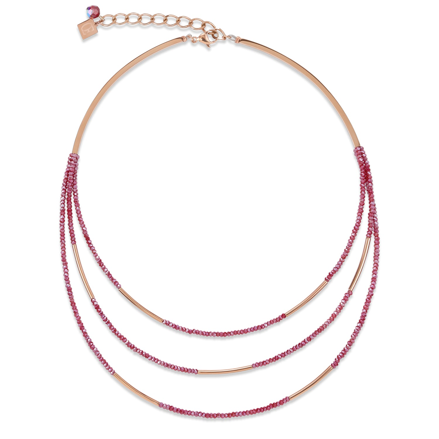 Coeur de Lion Three-Row Necklace, Wine Red