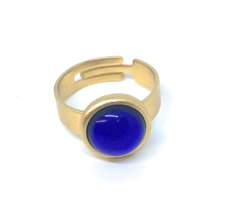 Gubo Adjustable Ring with sapphire blue cabochon