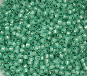 Toho Seed Beads size 11/0 Silver-lined Milky Mint Green TRD-PF2103
