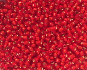 Toho Seed Beads size 11/0 Silver-lined Light Siam Ruby Frosted TRD-25F
