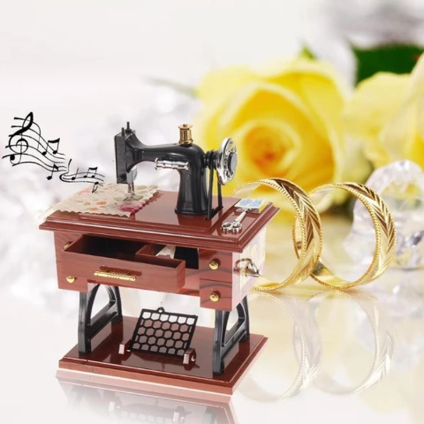Cute Mini Sewing Machine Music Box