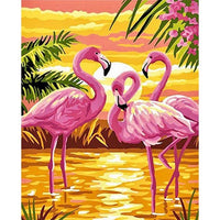 Pink Flamingo Diy Paint By Numbers Kits Uk VM92136