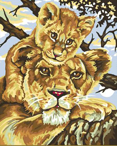 Animal Lion Diy Paint By Numbers Kits Uk ZXB175