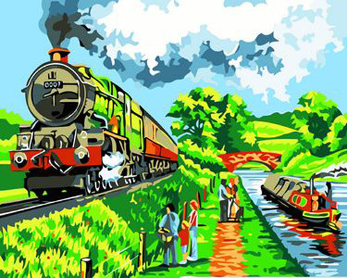 Train Diy Paint By Numbers Kits Uk ZXB219-19