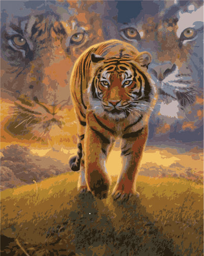 Animal Tiger Diy Paint By Numbers Kits Uk ZXB867