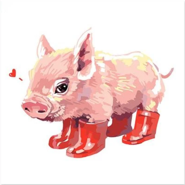 Pig Red Boots Diy Paint By Numbers Kits Uk PBN92034