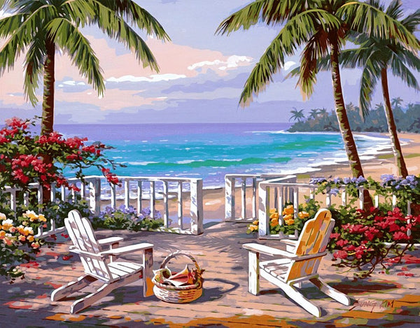 Landscape Seaside Yard Palm Trees Diy Paint By Numbers Kits Uk BN00057