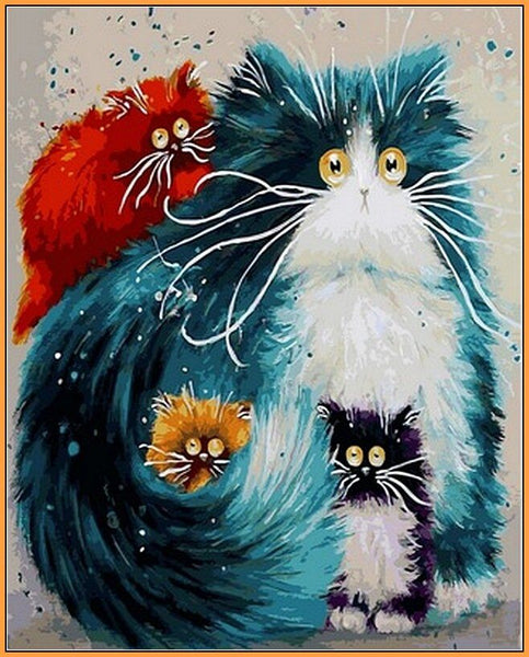 Pet Four Colorful Cats Diy Paint By Numbers Kits Uk VM00106