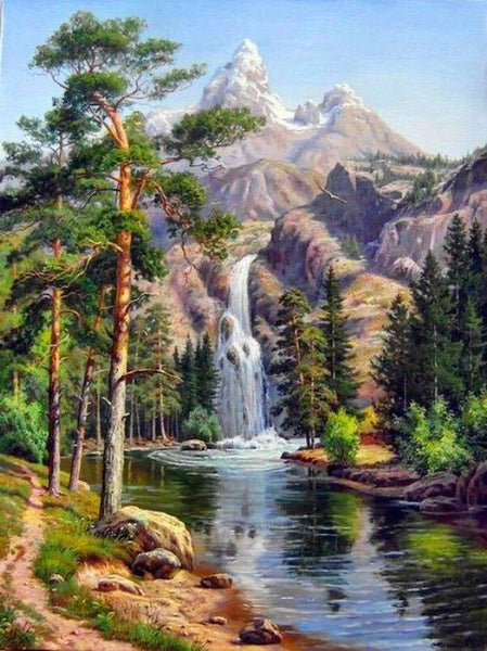 Landscape Waterfall Diy Paint By Numbers Kits Uk VM93115