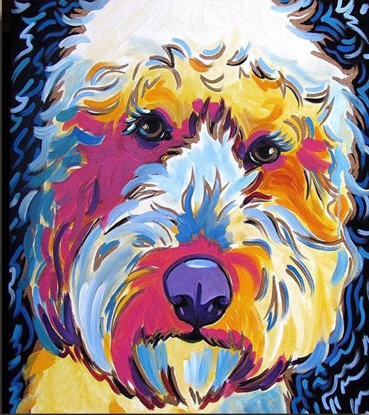 Colorful Dog Diy Paint By Numbers Kits UK VM97846