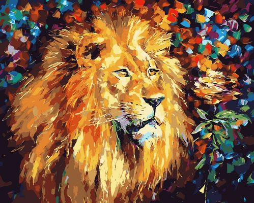Animal Lion Diy Paint By Numbers Kits Uk ZXQ051