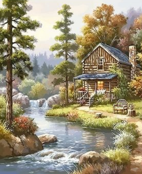 Landscape Cottage Diy Paint By Numbers Kits Uk XQ2721