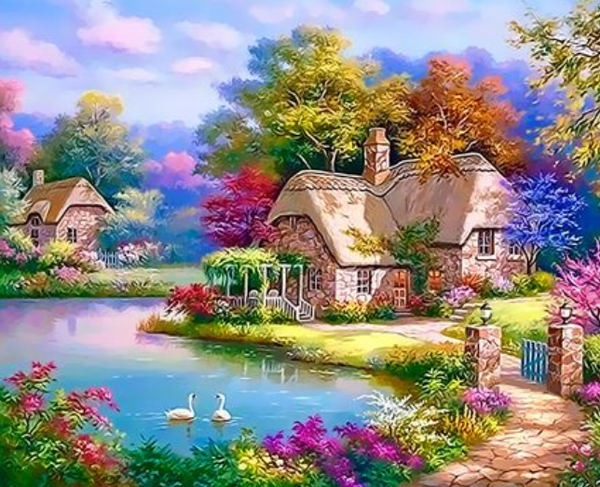 Landscape Cottage Diy Paint By Numbers Kits Uk ZXQ3309