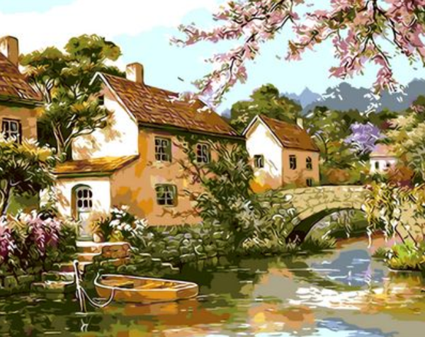 Landscape Bridge House Diy Paint By Numbers Kits Uk XQ350