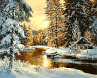 Landscape Sunset Snow Forest Diy Paint By Numbers Kits Uk SY-4050-054 ZXZ174