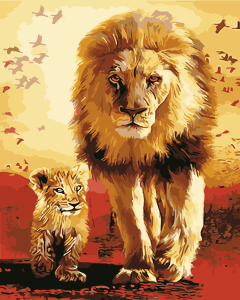 Lion Diy Paint By Numbers Kits Uk WM-1045
