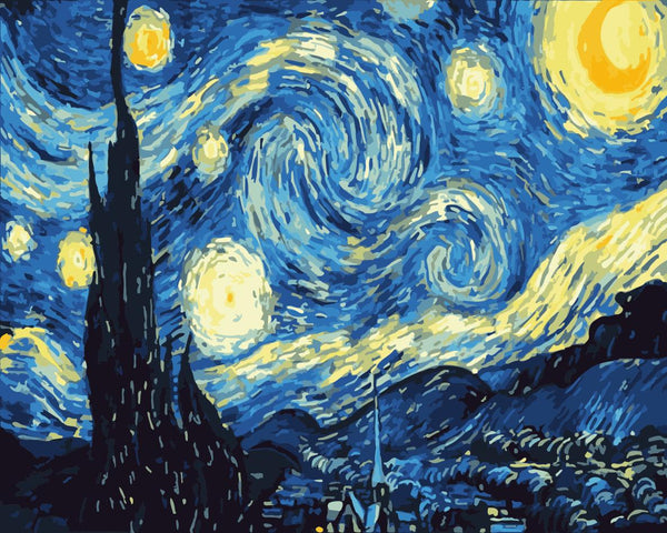 Van Gogh Starry Sky Diy Paint By Numbers Kits Uk WM-1124