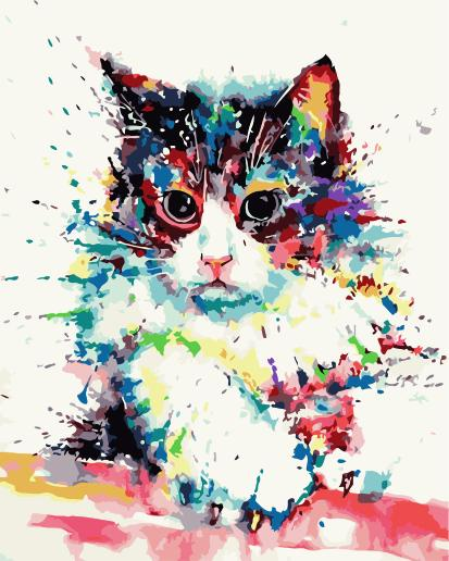 Cat Diy Paint By Numbers Kits Uk WM-1495