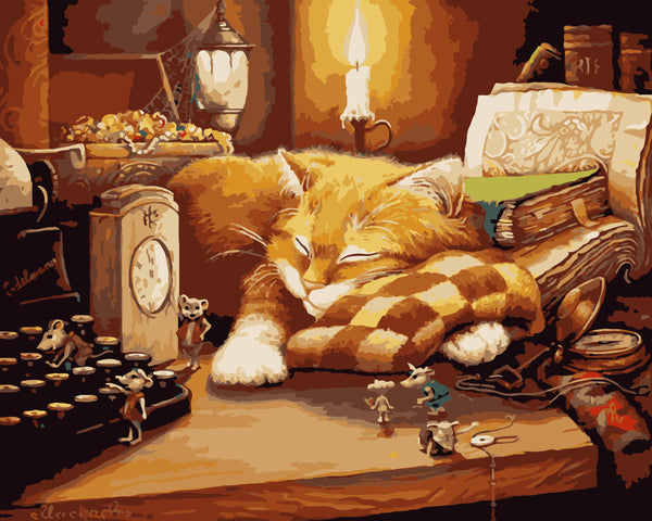 Sleeping Cat Diy Paint By Numbers Kits Uk WM-223