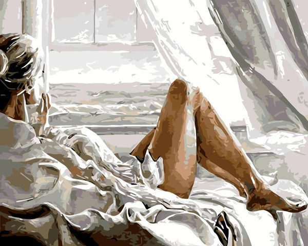 Sexy Woman On Bed Diy Paint By Numbers Kits Uk WM-395