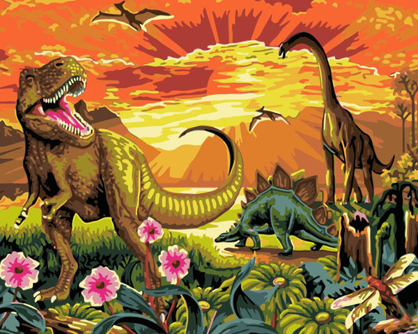Dinosaur Diy Paint By Numbers Kits Uk WM-930