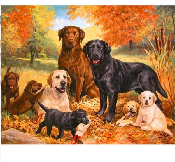 Warm Dog Famliy Diy Paint By Numbers Kits Uk VM00111