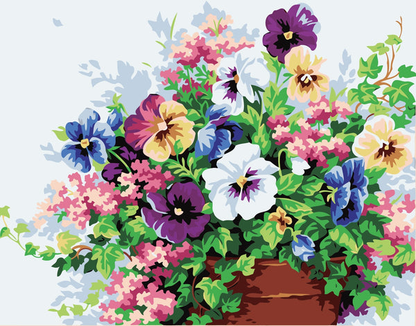 Plant Colorful Flowers Diy Paint By Numbers Kits Uk BN00134