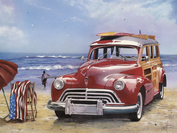 Vehicle Red Car Seaside Diy Paint By Numbers Kits Uk PBN00212