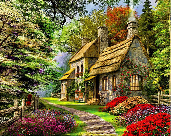Landscape Cottage Diy Paint By Numbers Kits Uk VM90032
