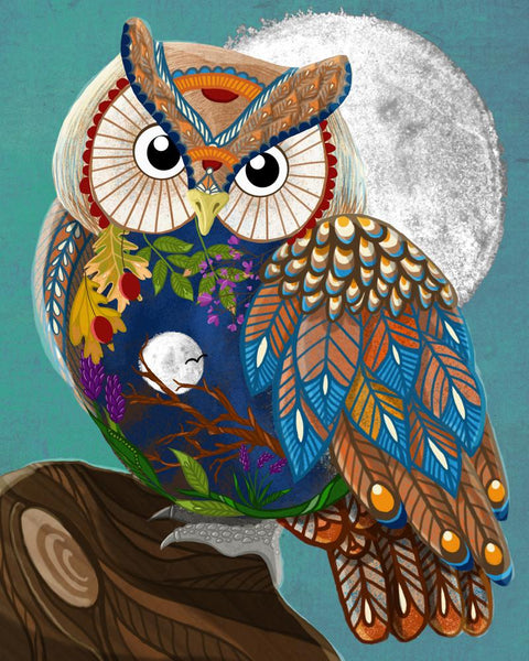 Color Animal Owl Diy Paint By Numbers Kits Uk PBN91501