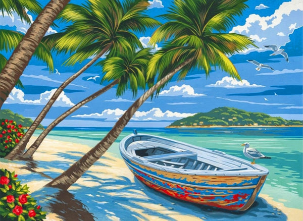 Boat  Landscape Diy Paint By Numbers Kits Uk RA3435