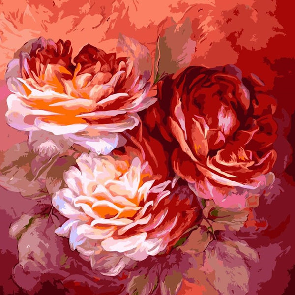 Peony Flower Diy Paint By Numbers Kits Uk VM52041