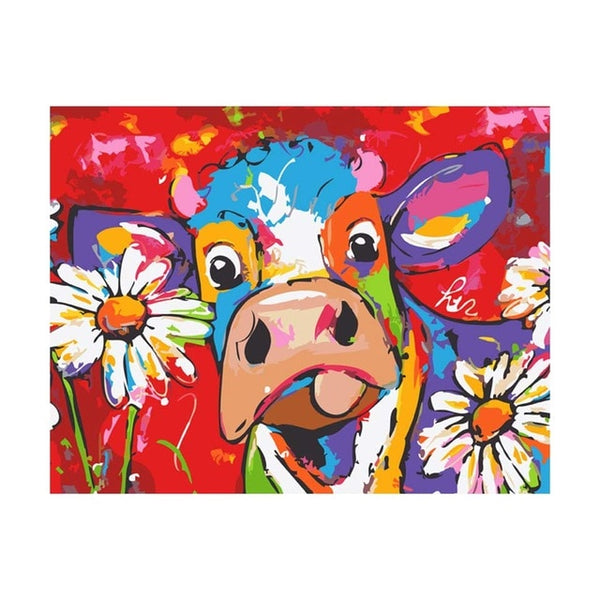 Colorful Cow Diy Paint By Numbers Kits UK PBN95526