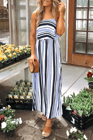 Inslace Spaghetti Straps Striped Maxi Dress
