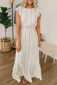Inslace O Neck Striped Printed White Maxi Dress