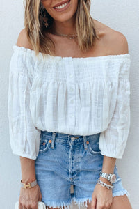 Inslace Dew Shoulder White Blouse
