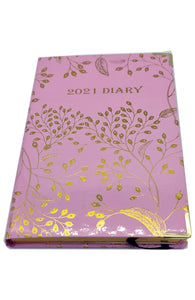 EJRange 2021 diary A5 Page A Day - Daily Planner Journal Notebook with Hardcover Elastic Closure Ribbon- Gold Foil Design