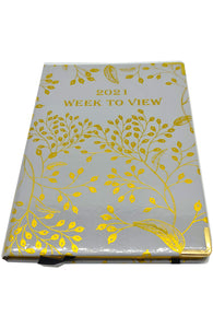 EJRange 2021 Diary A5 Week to View - Journal Notebook with Hardcover - Gold Foil Design (Grey)